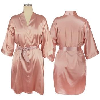 Women Satin Wedding Kimono Bathrobe Plus Size Bridal Shower Silk Sleepwear Bride and Brdiesmaid Robes цена 2017