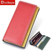 DICIHAYA Genuine Leather Women Clutch Wallet Color Matching Female Coin Purse Long Phone Bag Card Holder Handy Passport Holder