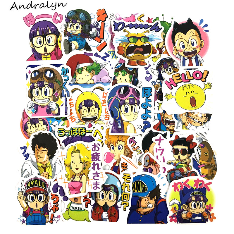 40 Pcs/Set Arale Cartoon Style Album Stickers For Refrigerator Ski Motorcycle Luggage Skate Laptop Car For Children Stickers