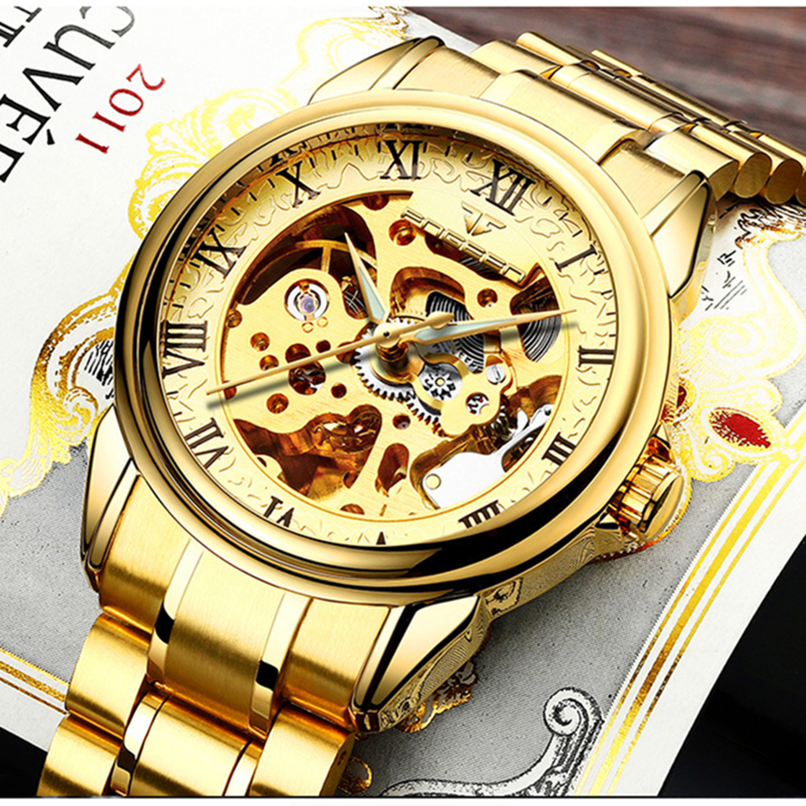 FNGEEN Men Luxury Skeleton Automatic Winding Mechanical Watches Gold Stainless Steel Waterproof Wristwatch Male Time Hours 8866G