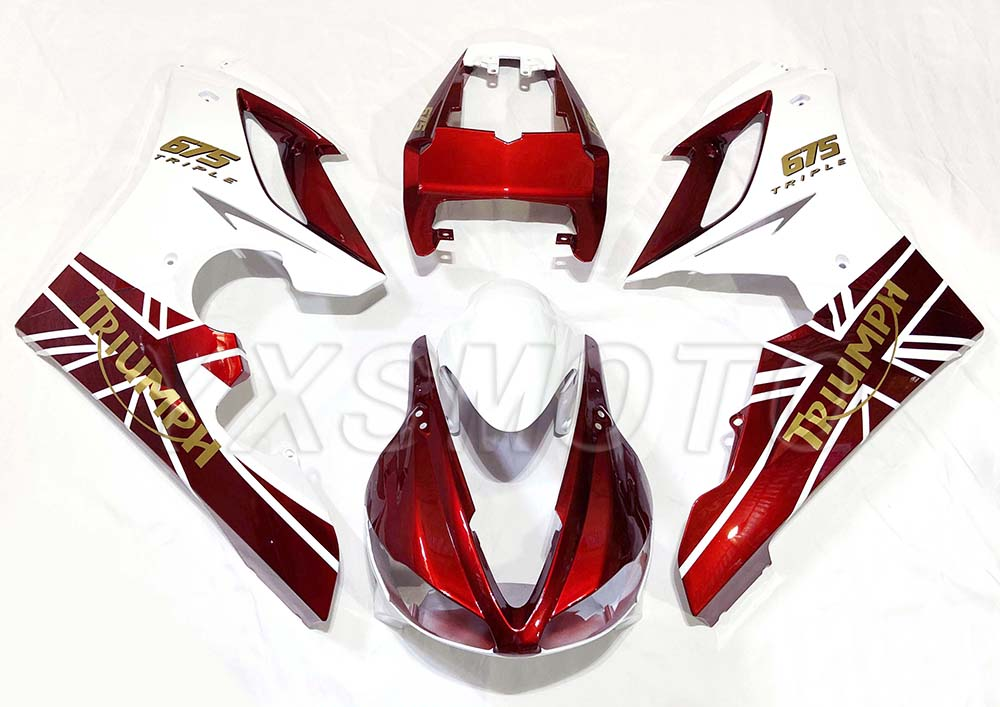 Brand New ABS Mechanical Injection Fairing Kit For Triumph Daytona 675R 2006 2007 2008 Red White Bodywork Fairings 675 06 07 08