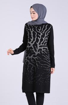 Minahill czarna tunika moda muzułmańska islamska odzież skromna topy arabska odzież długa tunika dla kobiet 1094-03 tanie i dobre opinie TR (pochodzenie) tops Aplikacje Bluzki i koszule Octan Dla dorosłych