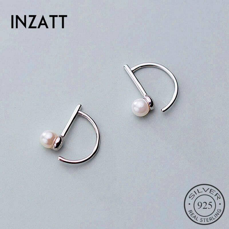 INZATT Real 925 Sterling Silve Pearl Hoop Earrings For Fashion Women Party Fine Jewelry Minimalist Cute Accessories Gift