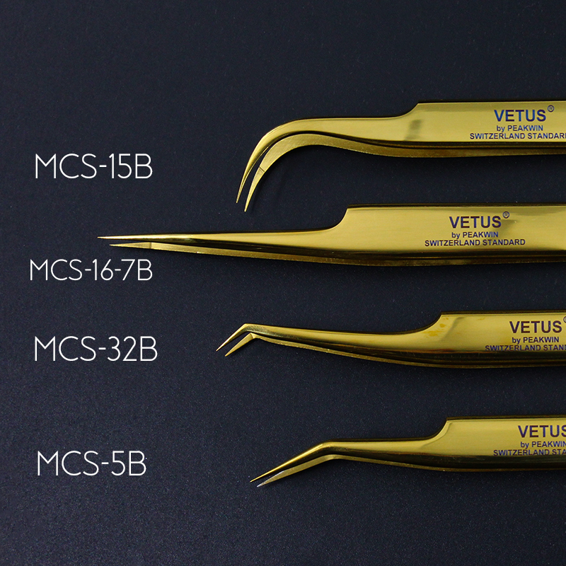 Image 2 - 100% Vetus Original MCS Series New Style Premium Eyelashes Tweezers Super Fine Tip Improve for 3D 6D Lashes Extensions-in Eyebrow Tweezers from Beauty & Health