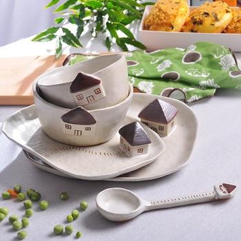 bowl dish cutlery set pottery greenhouses  fruit bowl dessert salad bowl