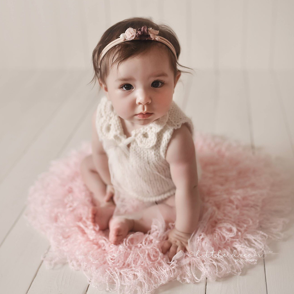 Don&Judy Newborn Photo Shoot Sets Round Blanket with Matched Wrap and Headband Newborn Photography Props Accessories