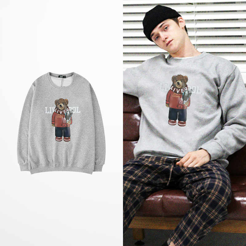 Ins Stijl Koreaanse Fashion Hoodies Cartoon Beer Print Hoodies Hip Hop Skateboard Liefhebbers Paar Ulzzang Kanye West Sweatshirt Mannen