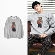 Ins Style Korean Fashion Hoodies Cartoon Bear Print Hoodies Hip Hop Skateboard Lovers Couple Ulzzang