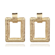 2019 Direct Selling Limited Pendientes Oorbellen Aretes European And American Fashion Metal Square Earrings Female Alloy