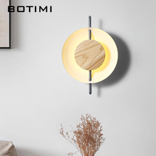 BOTIMI Nordic Solid Wood LED Wall Lights For Living Room Modern Bedroom Wall Sconce Modern Wall Mounted Art DECO Beside Lighting tuda free shipping art deco style originality solid wood wall lamp for bedroom sitting room porch ngau tau led wall lamp e27