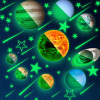 Nine Planets Kids Living Room Decorative Ceiling Bright Wall Sticker Solar System Glow In The Dark Bedroom Gift Star PVC DIY