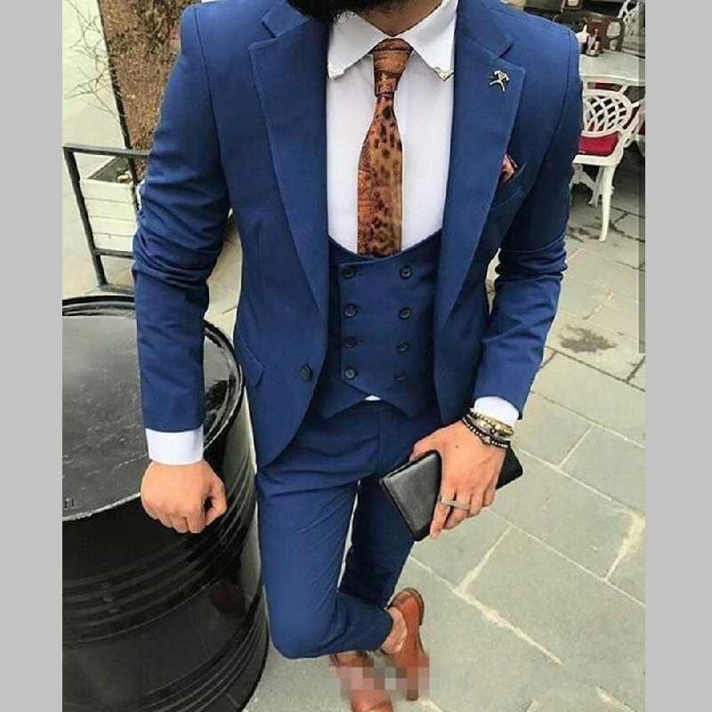Garnitury męskie One Button Royal Blue Groomsmen klapa zamknięta smokingi dla pana młodego ślub/Prom/kolacja drużba Blazer (kurtka + spodnie + kamizelka)