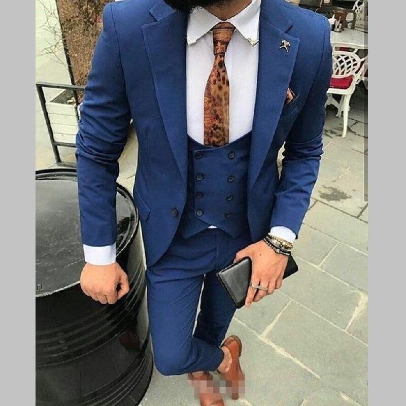 Men Suits One Button Royal Blue Groomsmen Peak Lapel Groom Tuxedos Wedding/Prom/Dinner Best Man Blazer(Jacket+Pants+Vest)