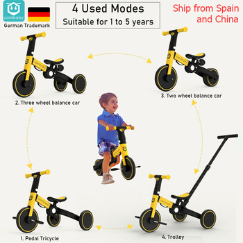 4 into 1 Children Bicycle Tricycle Child Two Wheel Bike Foldable Baby Balance Bike Kids Scooter Baby Stroller for 1-6 Years Old