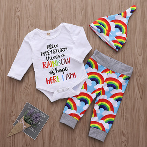 Newborn Infant Baby Clothing Set 0-24M Long-sleeved color alphabet bodysuit+rainbow pants+Hat Baby boy girl clothes outfits 3PCS(China)
