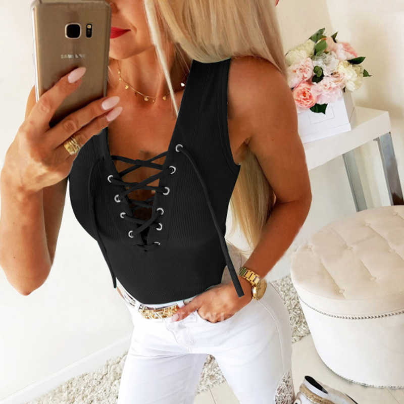Women/'s Sleeveless Cami Vest Tops Lace Up Halter Tank Tops T Shirt Tees Blouse