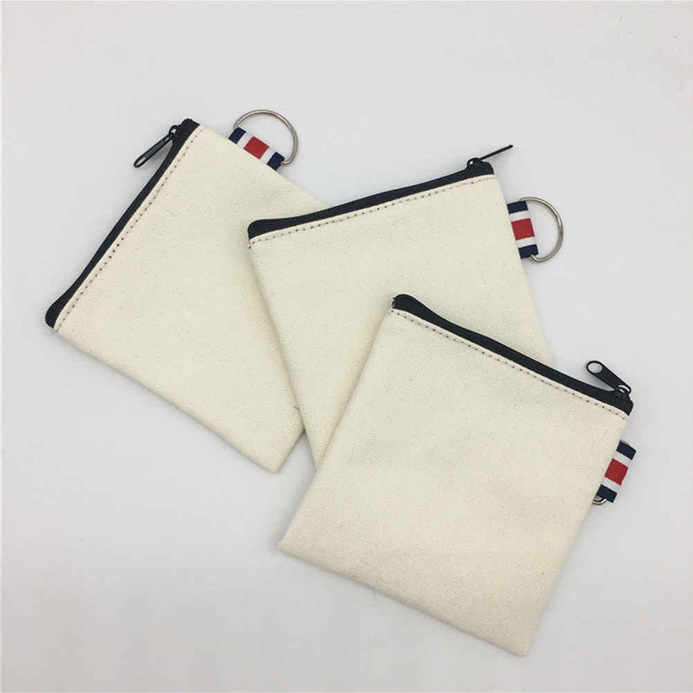 DIY Canvas Bag Short White Wallet Coin Purse Credit Card Purse Bag Women Zipper Coin Key Bag Creative Money Pocket Small Wallet
