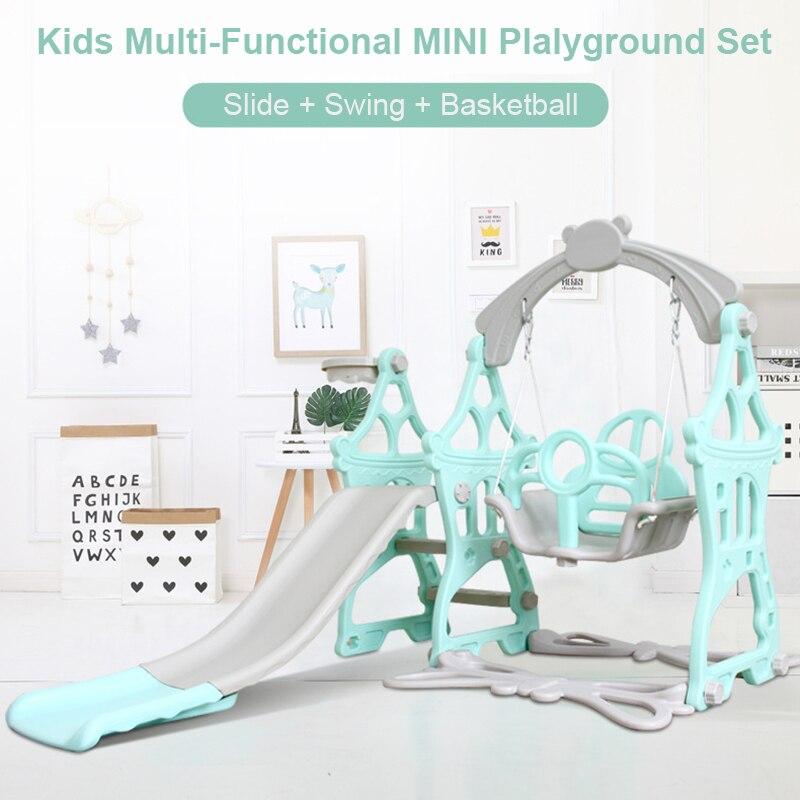 Balançoire bébé 3 en 1 toboggan combinaison Shoot basket-ball enfants Mini aire de jeux intérieure multi-fonctionnelle toboggan ensemble