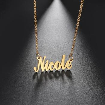 My Shape Custom Name Necklace Stainless Steel Customized Personalized Letter Rose Gold Choker Pendant Nameplate Gift