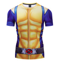 Новинка 2019, компрессионные футболки для мужчин X-men, Росомаха, 3D принт, футболки для мужчин, футболка для фитнеса, короткий рукав, костюм для к...