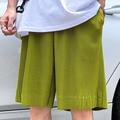 Sommer Shorts männer Mode Einfarbig Casual Plissee Shorts Männer Streetwear Wilden Lose Gerade Gerade Fünf-punkt Hosen s-2XL
