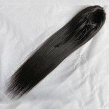 Sweettie – Extensions de cheveux naturels brésiliens Remy, queue de cheval lisse, avec Clip, cordon de serrage, pour femmes africaines et américaines