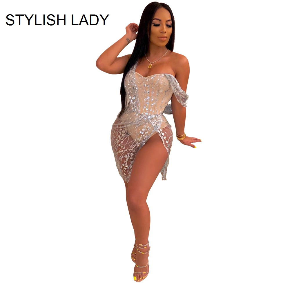 STYLISH LADY Glitter Sequin Mesh Bodysuits 2019 Autumn Women Short Sleeve Bodycon Sexy Club Party Short Rompers And Jumpsuits