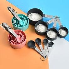 Cucharas multiusos, herramientas de medición de vasos, accesorios de horneado de PP, utensilios de cocina con mango de plástico de acero inoxidable, 4/8/10 Uds.