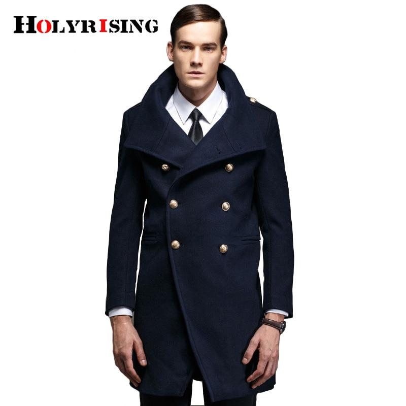 Holyrising men's clothing double breasted military retro wool pea coat Europe man warm army windbreak jacket trench 19181