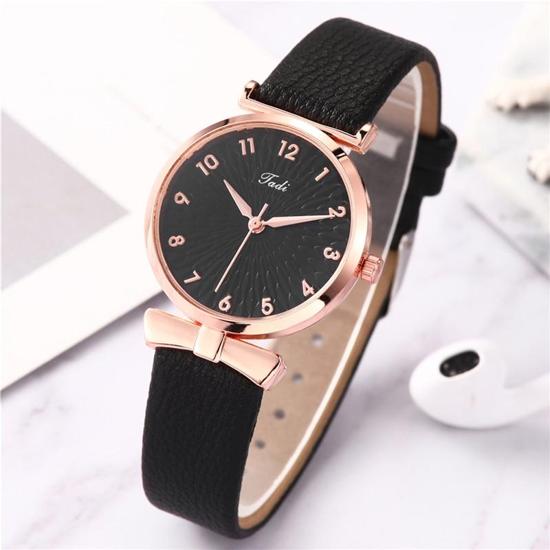 2020 Fashion Women's Luxury Leather Band Watch Analog Quartz Wristwatch Gold Ladies Watches Women Dress Reloj Mujer Black Clock