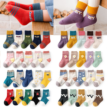 5Pairs/lot Cotton Baby Socks Autumn Winter Baby Socks for Girls Newborn Cartoon Boys Breathable Soft Toddler for Children Socks 5pairls lot boys girls pure white socks for children baby cotton soft kids socks loose comfortable toddler black white socks