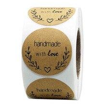Природных Крафт круглый ручной работы с любовью скрапбукинг этикетки наклейки для упаковки канцтоваров стикер 500 этикеток/рулон
