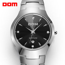 Dom assista men tungstênio aço luxo superior marca de pulso 30m à prova dwaterproof água espelho safira relógios quartzo moda W-698-1M