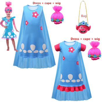 Halloween costume troll 2 poppy Cosplay costume summer princess dress carnival christmas costume children girl carnival halloween costume for women girl pink fairy princess costume dress fantasia adult cosplay clothing