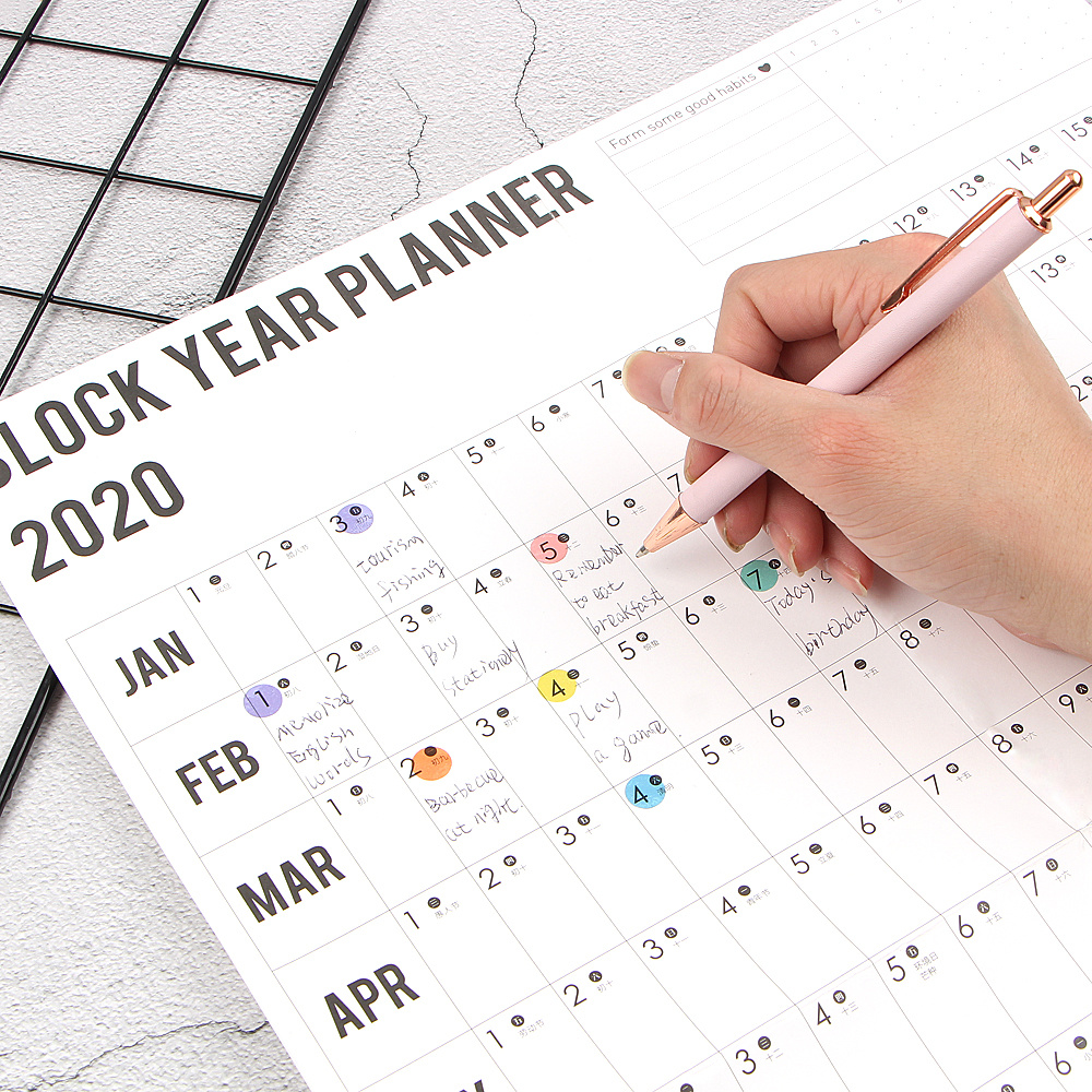 1PC 2020 Year Wall Calendar With Sticker Dots 365 Days Learning Schedule Periodic Planner Year Memo Agenda Organizer Office