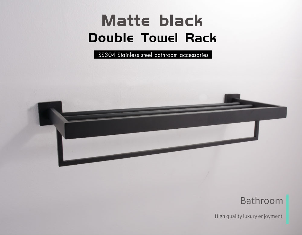 H82d35244c31e40699f6b7fc3ec689d141 - Tutima 304 Stainless Steel Matte Black Bathroom Hardware Set High Quality Towel Rack Ring shelf Paper Holder Bathroom Hooks