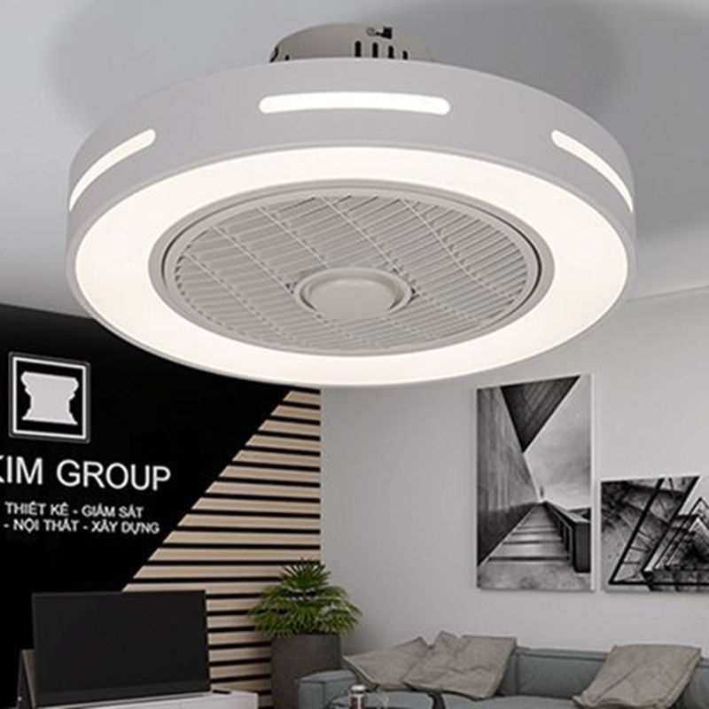 Modern minimalist white painted iron ceiling fan light crystal decorative acrylic LED lighting dimmable bedroom fan lamp - 6