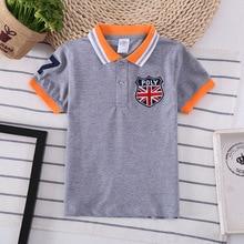 Поло детская рубашка Топы для мальчиков модная детская одежда футболка для мальчиков