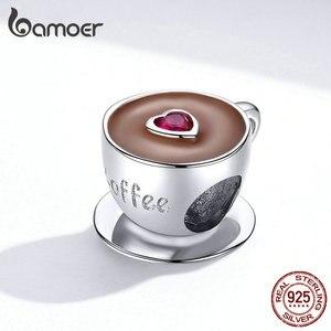 Bamoer кофейная чашка, металлические бусины для женщин, шармы пандора серебро 925 оригинальные европейский браслет с подвесками из стерлингового серебра 925 пробы, эмаль, модные украшения с шармами SCC1286