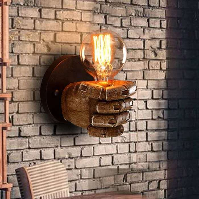 Antique Resin Fist Wall Lamp Cross Border European Bar Restaurant Cafe Decoration Wall Lamp Left Hand