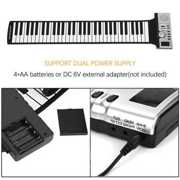 Timelytrust Portable 61 Keys Roll-Up Piano USB MIDI Keyboard MIDI Conctroller Hand Electronic Piano Musical instrument beginner electronic organ 61 keys electronic portable silicone flexible hand roll up piano built in speaker midi out keyboard organ