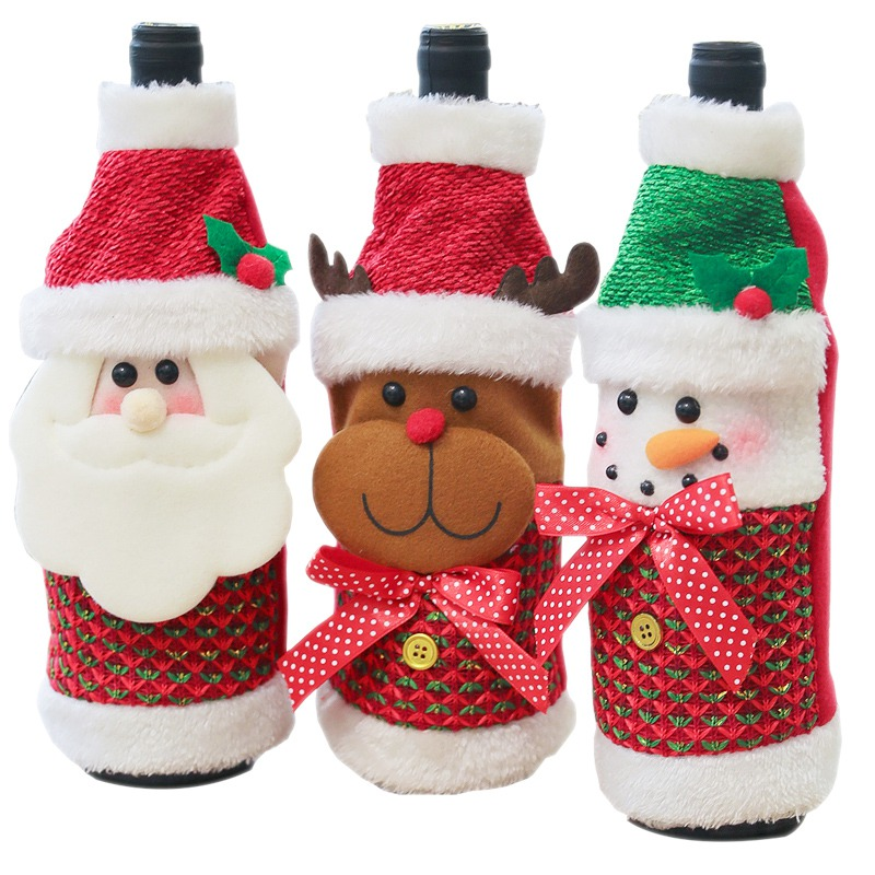 Xmas Navidad Decor Wine Bottle Cover Christmas Decoration Santa Claus Snowman Gift Holders New Year Dinner Party Table Decors