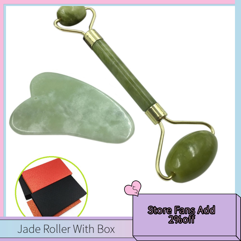 Jade Roller & Gua Sha Scraping Massage Tool For Facial Skin Care Anti-aging Facial Jade Stone Set Face Eye Neck Beauty Roller
