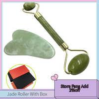 Jade rolo & gua sha raspagem ferramenta de massagem para cuidados com a pele facial anti-envelhecimento jade conjunto de pedra rosto olho pescoço beleza rolo