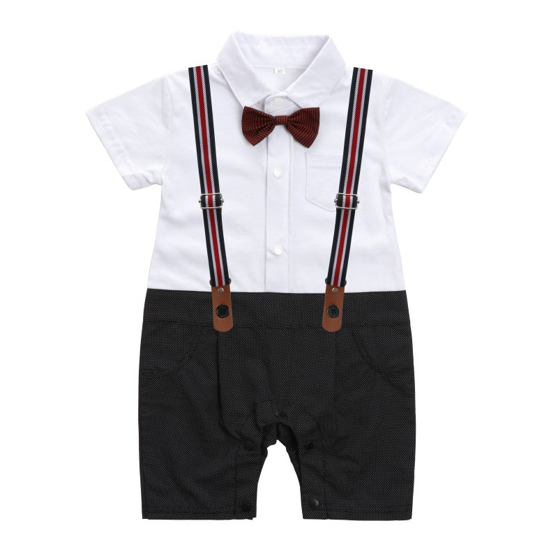 Baby Romper Summer Baby Boys Clothes Gentleman Tie Jumpsuit Newborn Clothes Kids Costume For Baby Overalls Clothes 0 3 6 9 Mont