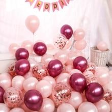 Набор жемчужных розовых воздушных шаров 20 шт., хромированные металлические шары с конфетти, украшение для дня рождения, свадьбы, баллон гели...