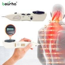 Caneta de massagem corporal 3 em 1 acupuntura caneta meridiano energia caneta alívio da dor ponto detector dispositivo saúde terapia a laser massageador arma