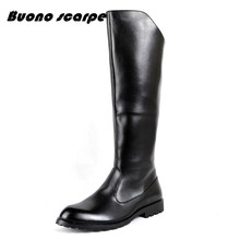 Spring Fall Knee High Military Boots Men Artificial Leather Motorcycle Boots Mens Knee High Leather Boots Riding Army Shoes cheap buono scarpe Microfiber Knee-High Solid Bonded Leather Fits smaller than usual Please check this store s sizing info Round Toe