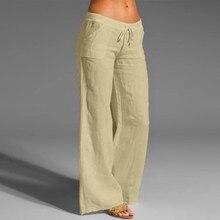 Pants Cotton Linen Leg-Trousers Drawstring Elastic-Waist Loose A20 Wide Plus-Size Summer