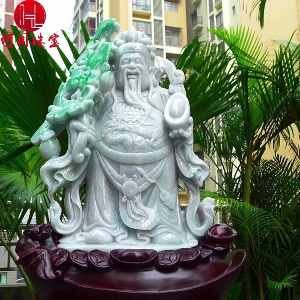 Hezhou jewelry!Myanmar natural jade!The god of wealth hand-carved decoration!Living room desk accessories!17jins 2
